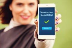 Avis mobile de transaction images stock
