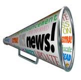 Aviso alerta importante del megáfono del megáfono de las noticias Foto de archivo