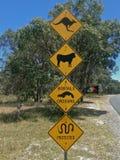 Aviso australiano do sinal de rua dos cangurus, do gado, dos rabos cortados e das serpentes Fotografia de Stock Royalty Free