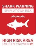 Aviso da área do tubarão ilustração royalty free