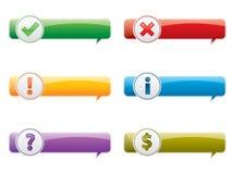 Aviso da caixa em seis modelos com ícones ilustração stock