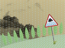 Aviso da inundação da terra ilustração stock
