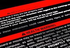 Aviso da saúde Fotografia de Stock