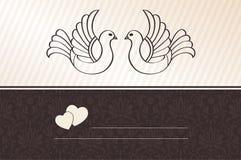 Aviso de la boda con las palomas Imágenes de archivo libres de regalías