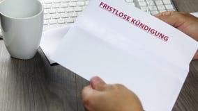 Aviso de la terminación, fristlose Kuendigung almacen de video