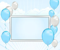 Aviso del globo del azul de bebé Fotos de archivo libres de regalías