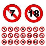 Aviso del límite de edad que advierte la muestra roja de la prohibición stock de ilustración