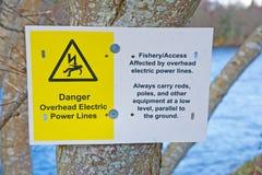 Aviso del peligro para los pescadores. Foto de archivo