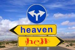 Aviso do sinal de estrada do céu e do inferno Imagens de Stock