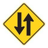 Aviso do sinal de estrada - em dois sentidos ilustração do vetor