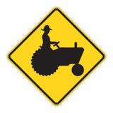 Aviso do sinal de estrada - trator ilustração stock