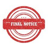 Aviso final Stam Foto de archivo libre de regalías