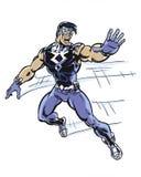 Aviso ilustrado banda desenhada do louco do volante do super-herói ao correr Fotografia de Stock Royalty Free