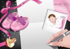 Aviso-muchacha del nacimiento Fotos de archivo