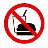 Aviso prohibido alimento Foto de archivo
