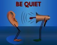 Aviso: Seja quieto Desenhos animados do vetor Fotos de Stock