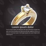 Aviso simple de la boda con el anillo de la boda Foto de archivo libre de regalías