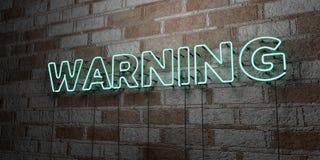 AVISO - Sinal de néon de incandescência na parede da alvenaria - 3D rendeu a ilustração conservada em estoque livre dos direitos ilustração stock