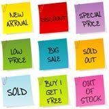 Avisos de la venta, conjunto del post-it libre illustration