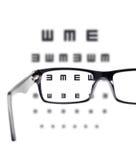 Aviste o teste visto através dos vidros do olho imagem de stock