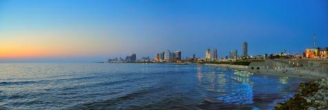 aviv海滩以色列全景tel 免版税库存图片