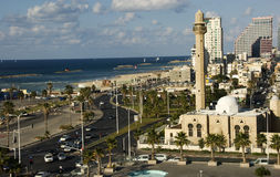 aviv海滩前面tel 库存照片