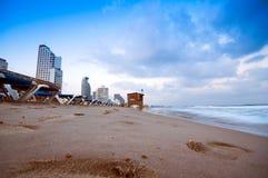 aviv海滩tel 免版税库存图片