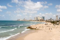 Aviv-Strand-Frontseite Stockfotos