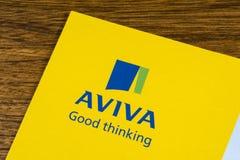 Aviva firmy ubezpieczeniowej logo Fotografia Royalty Free