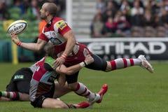 2011 Aviva Premiership rugbyunion, harlekiner V Gloucester, Sept royaltyfri foto