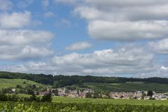 Avize in Champagne District. The small Champagne village Avize near Epernay with vineyards and hills on a summers day in France Royalty Free Stock Photos