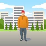 Avkopplad moderiktig ung Latino man med mustaschen i tillfällig kläder stock illustrationer