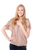Avkopplad ung kvinna för vänskapsmatch royaltyfri foto
