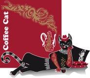Avkoppling den liggande katten dricker kaffe Royaltyfria Bilder
