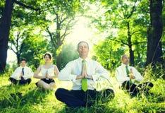 Avkoppling för affärsfolk som mediterar i träbegreppet Royaltyfria Foton