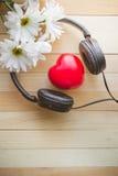 Avkoppling och slags tvåsittssoffa med hjärta lyssnar musik och tusenskönan på trä royaltyfri fotografi