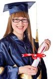 avlägga examen för flicka som är lyckligt Royaltyfria Bilder