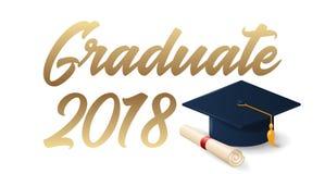avläggande av examenaffischmall 2018 Fotografering för Bildbyråer