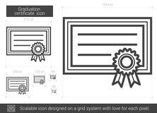 Avläggande av examencertifikatlinje symbol royaltyfri illustrationer