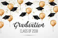 Avläggande av examengrupp av 2018 Lyckönskankandidater Akademiska hattar, konfettier och ballonger Beröm Royaltyfri Foto