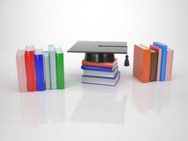 Avläggande av examenhatt med kulöra böcker Royaltyfria Foton