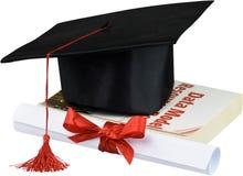 Avläggande av examenhatt med tofsen, diplom med rött fotografering för bildbyråer