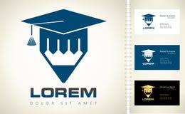 Avläggande av examenhatt och blyertspenna Fotografering för Bildbyråer