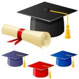 Avläggande av examenhatt och diplom royaltyfri illustrationer