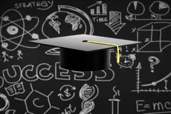 Avläggande av examenhatt på svart svart tavlabakgrund Royaltyfria Foton