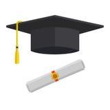 Avläggande av examenlock och rullande diplomvektorillustration Arkivbild
