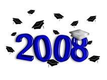 avläggande av examensilver för 2008 blue Arkivbild