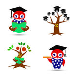 Avlägger examen trädet stock illustrationer