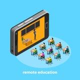 Avlägsen utbildning via internet genom att använda modern utrustning, studenter sitter på skrivbord, och läraren talar ut ur smar royaltyfri illustrationer