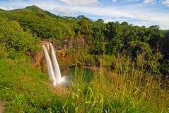 Avlägsen vattenfall i rainforest i Hawaii Arkivbilder